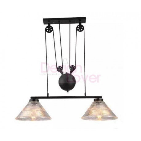 Industrial pulley double pendant lamp with edison bulbs by for Suspension triple luminaire