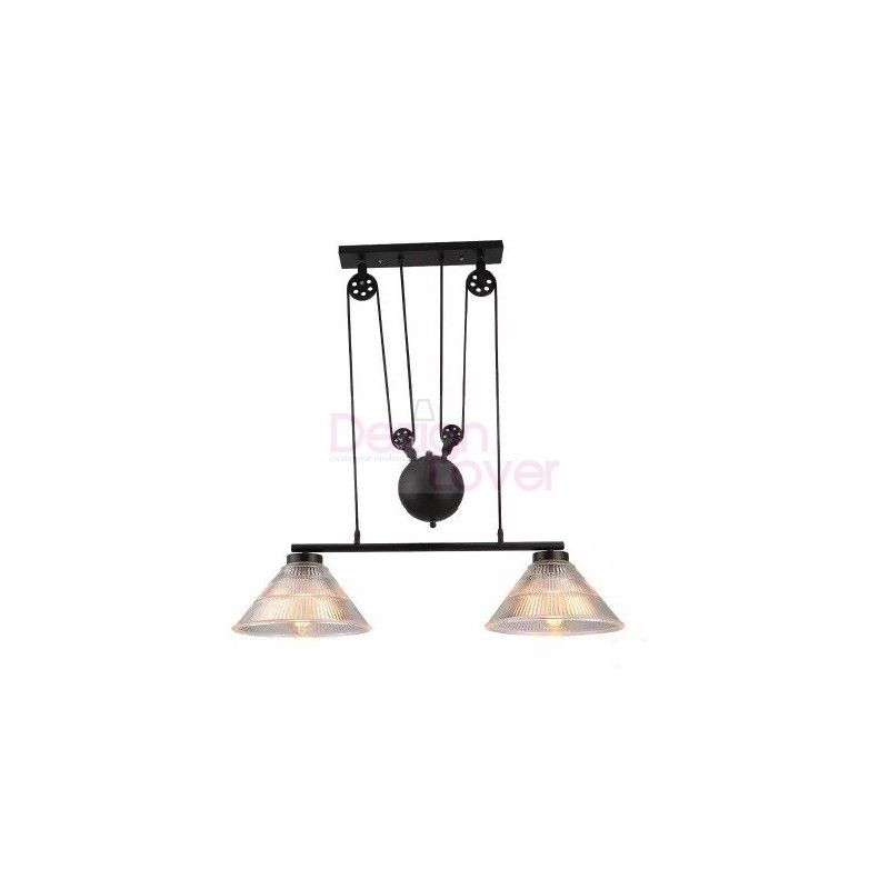 Industrial Pulley Double Pendant Lamp With Edison Bulbs By