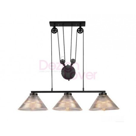 Industrial pulley triple pendant lamp with edison bulbs for Suspension triple luminaire