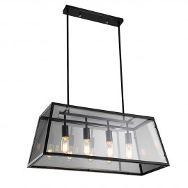 Loft Retro Industrial Iron Glass Rectangular Pendant Lamp