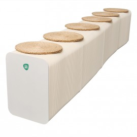 Flexible Expanding Paper bench seats 6p in white