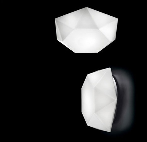 Diamond Cut Wall Or Ceiling Lamp By Murano Due