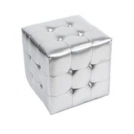4 Glossy Tufted Cube stool Ottoman