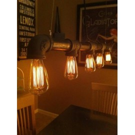 Industrial Iron Pipe pendant lamp Straight row