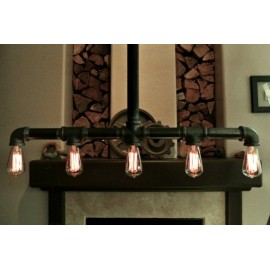 Industrial Iron Pipe pendant lamp w/cross down drop