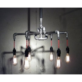 Industrial Iron Pipe pendant lamp 6 bulbs
