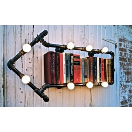 Industrial Iron Pipe wall lamp Bookshelf
