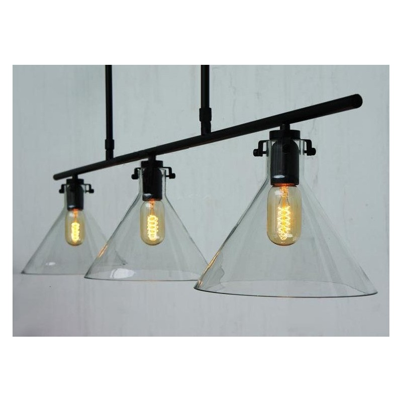 Meridian Glass Funnel Chandelier With Edison Bulbs Loading Zoom