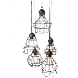 Wire Five Pendant lamp with Edison bulbs