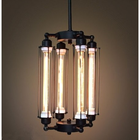 Industrial Vintage Edison 4 Tube Filament Bulbs Pendant Lamp By Vitra