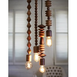 Bright Beads wooden pendant lamp