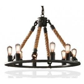 Industrial Vintage hemp rope chandelier pendant lamp