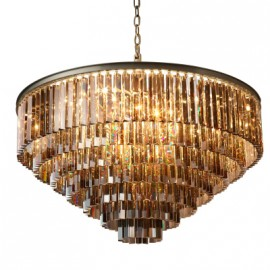 RH 1920S ODEON CLEAR GLASS FRINGE ROUND 5-TIER CHANDELIER