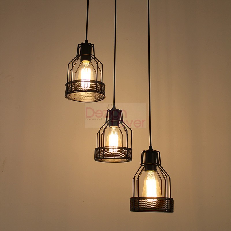 Industrial Cage 2 Pendant Lamp With Edison Bulbs By