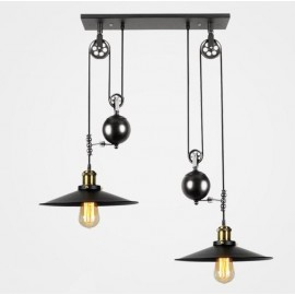 Industrial Iron Pulley double pendant lamp design with Edison bulbs