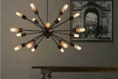 Industrial style chandeliers for Vintage and Retro decoration
