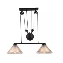 Industrial Pulley double pendant lamp with Edison bulbs