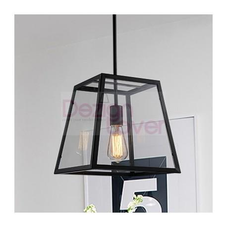 Loft Retro Industrial Iron Glass Rectangular Pendant Lamp
