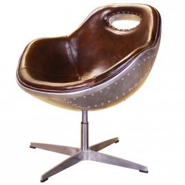 Chaise Swan design industriel rembourée en aluminium