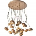 Wooden Flower Petal LED Cluster round Chandelier
