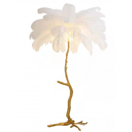 Ostrich Feather Palm Tree Floor Lamp in Brass