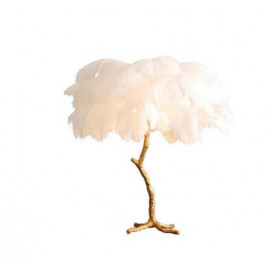 Ostrich Feather Table Lamp in Brass
