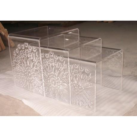 Set de 3 tables gigognes en acrylique avec motif fleur