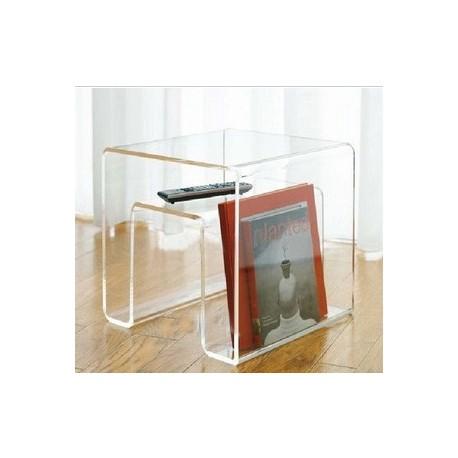 Porte-revue ou table d'appoint en acrylique