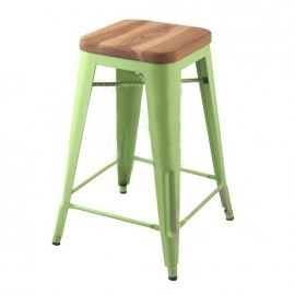 Tolix Stool wood seat H45cm Set of 2