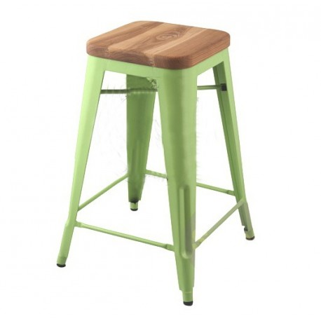 Tabouret design Tolix assis en bois H45cm Lot de 2