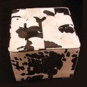 Cowhide Ottoman Cube Stool
