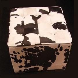 Tabouret Cube Ottomane Peau de vache