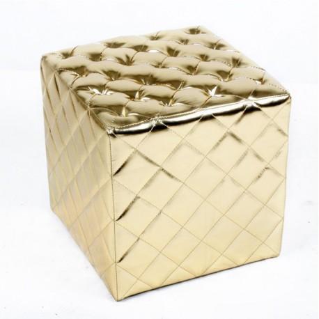 Tabouret Cube Ottoman design en cuir verni