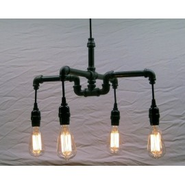 Industrial Iron Pipe pendant lamp 4 bulbs