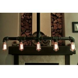 Industrial Iron Pipe pendant lamp w/cross down drop