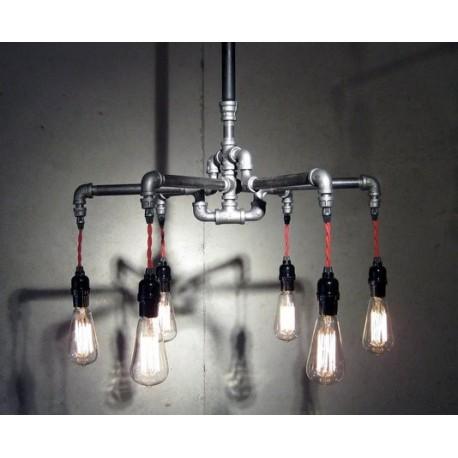 Suspension chandelier design industriel en tube métallique 6 ampoules