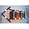 Industrial Iron Pipe wall lamp Bookshelf