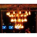 Chandelier design industriel en tube métallique 3 niveaux 30 ampoules