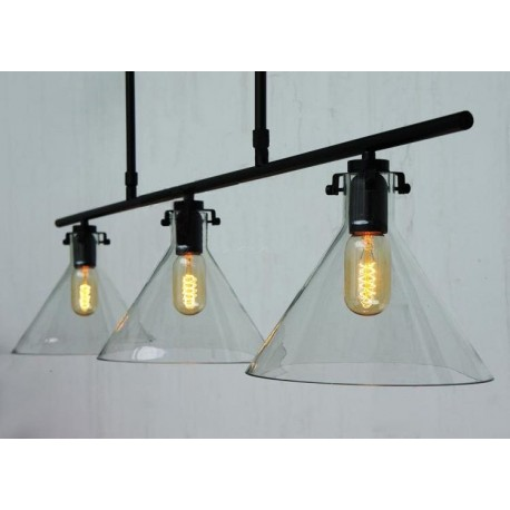 Meridian clear glass funnel Chandelier with Edison bulbs