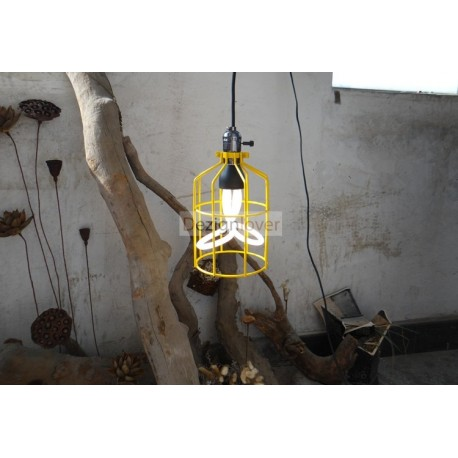 Caged Industrial pendant lamp with plumen bulbs