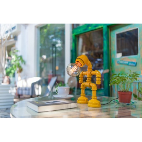 Industrial Iron Pipe table lamp robot with edison bulb 01