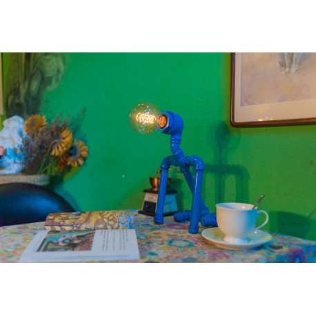 Industrial Iron Pipe table lamp robot with edison bulb 03