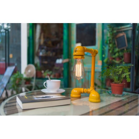 Industrial Iron Pipe table lamp robot with edison bulb 05