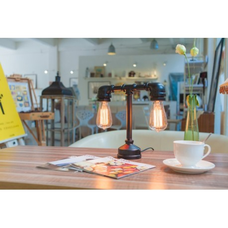 Industrial Iron Pipe table lamp robot with edison bulb 06