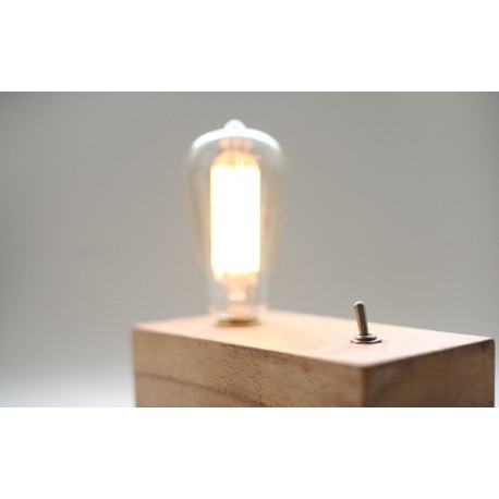 Retro Wooden Table Lamp With Edison Bulb Free Worldwide