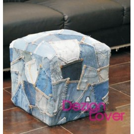 Denim Jeans pockets stool Ottoman