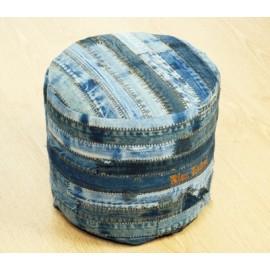 Tabouret Ottoman en motif Jeans Strip