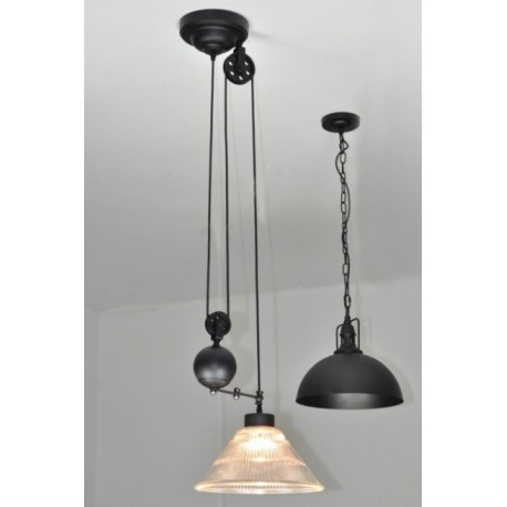 Industrial Pulley single pendant lamp with Edison bulbs