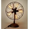 Lampe de table design industriel rétro ventilateur avec ampoule edison