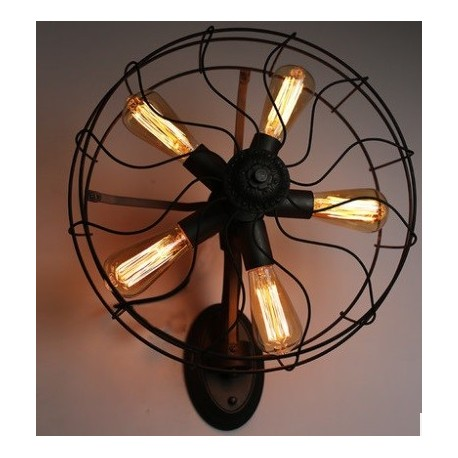 Industrial Retro Edison fan wall lamp